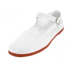 "T2-114L-W  Wholesale Women's ""EasyUSA"" Classic Cotton Upper Mary Jane Shoes ( *White Color ) *Available In Single Size"