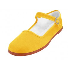 "T2-114L-Y  Wholesale Women's ""EasyUSA"" Classic Cotton Upper Mary Janes Shoes ( *Yellow Color ) *Available In Single Size"