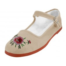 T2-114-I-E-Ivory - Wholesale Women's Classic Embroidered Cotton Upper Mary Janes Shoe ( *Ivory Color ) *Last Case