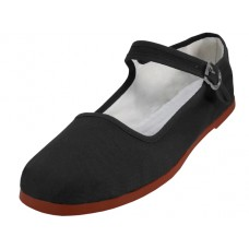 "T2-114L-B Wholesale Women's ""EasyUSA"" Classic Cotton Upper Mary Janes Shoe ( *Black color ) *Available In Single Size"
