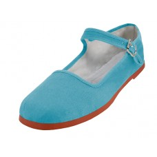 "T2-114L-X  Wholesale Women's ""EasyUSA"" Classic Cotton Upper Mary Jane Shoes ( *Lt. Blue Color ) *Available in Single size"