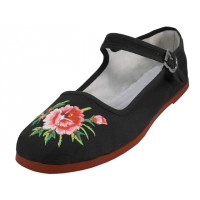 T2-114LB-EMB - Wholesale Women's Classic Embroidered Cotton Upper Mary Janes Shoe ( *Black Color ) *Open Stock