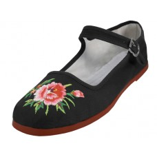 T2-114LB-EMB - Wholesale Women's Classic Embroidered Cotton Upper Mary Janes Shoe ( *Black Color )