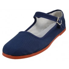 "T2-114L-N Wholesale Women's ""EasyUSA"" Classic Cotton Upper Mary Jane Shoes ( *Navy Color ) *Available In Single Size"