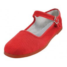 "T2-114L-R Wholesale Women's ""EasyUSA"" Classic Cotton Upper Mary Jane Shoes ( *Red Color ) *Available In Single Size"