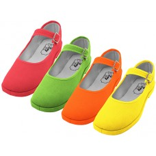 "T2-115G-C - Wholesale Girl's ""EasyUSA"" Cotton Upper Mary Janes Shoe ( *Asst. Green, Yellow, Red & Orange )"