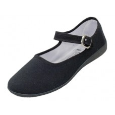"T2-115L-B Wholesale Women's ""EasyUSA"" Cotton Upper Mary Janes Shoe ( *Black Color )"