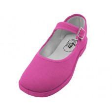 "T2-115L-F  - Wholesale Women's ""EasyUSA"" Cotton Upper Mary Janes Shoe ( *Fuchsia Color )"