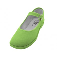 T2-115L-G Wholesale Women's Cotton Upper Mary Janes Shoe ( *Green Color )