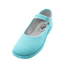 "T2-115L-Blue Wholesale Women's ""EasyUSA"" Cotton Upper Mary Janes Shoe ( *Light Blue Color )"