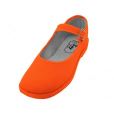 "T2-115L-A Wholesale Women's ""EasyUSA"" Cotton Upper Mary Janes Shoe ( *Orange Color )"