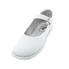 "T2-115G-W Wholesale Girl's ""EasyUSA"" Cotton Upper Mary Janes Canvas Shoe ( *White Color )"