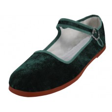 "T2-118L-Green - Wholesale Women's ""EasyUSA"" Velvet Upper Classic Mary Jane Shoes ( *Dark Green Color ) *Last Case"