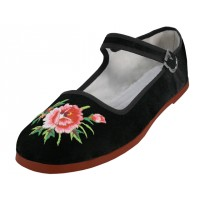 T2-118B-EMB  Wholesale Women's Classic Velvet Upper With Embroidery Mary Janes Shoe ( *Black Color ) *Available In Single Size