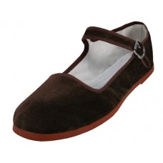 "T2-118L-T Wholesale Women's ""EasyUSA"" Velvet Upper Classic Mary Janes Shoe ( *Brown Color ) *Available In Single Size"