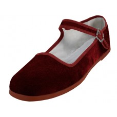 "T2-118L-M Wholesale Women's ""EasyUSA"" Velvet Upper Classic Mary Jane Shoes ( *Maroon Color ) *Available In Single Size"