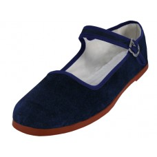 "T2-118L-N Wholesale Women's ""EasyUSA"" Velvet Upper Classic Mary Janes shoe ( *Navy Color ) *Available In Single Size"