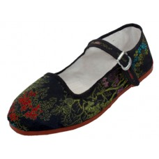 T2-119L-B Wholesale Women's Satin Brocade Upper Mary Jane Shoe ( *Black Color )