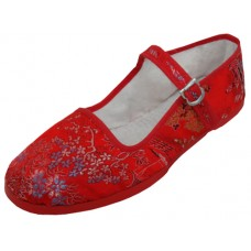 T2-119L-R  Wholesale Women's Brocade Upper Mary Jane Shoe ( *Red Color )