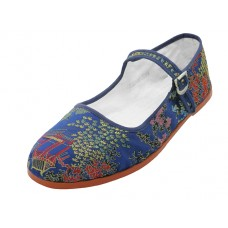"T2-119L-N Wholesale Women's ""EasyUSA"" Satin Brocade Upper Classic Mary Jane Shoes ( *Navy Color ) *Available In Single Size"