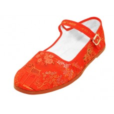 "T2-119L-R  Wholesale Women's ""EasyUSA"" Satin Brocade Upper Mary Jane Shoes ( *Red Color ) *Available In Single Size"