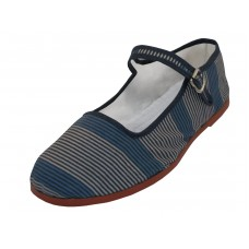 T5-1133 - Wholesale Women's Blue And Gray Stripe Printed Classic Cotton Upper Mary Jane Shoes *Last 2 Case