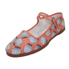 T5-1150 - Wholesale White Shell On Pink Printed Classic Cotton Upper Mary Janes Shoe *Last 2 Case