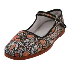T5-1153 - Wholesale Women's Cotton Upper Classic Mary Jane Shoes ( * Black Floral Printed ) *Last 2 Case