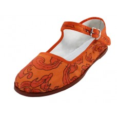 T5-1166 - Wholesale Women's Cotton Upper Classic Mary Jane Shoes ( *Orange Color Printed )