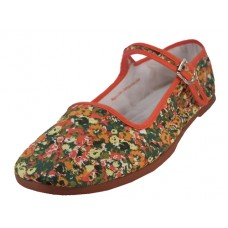 T5-1167 - Wholesale Women's Cotton Upper Classic Mary Jane Shoes ( *Red Daisy Floral Printed )