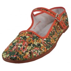 T5-1167 - Wholesale Women's Red Floral Ditsy Printed Classic Cotton Upper Mary Janes Shoe