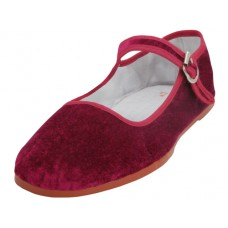 T2-118-Deep Red Wholesale Women's Classic velvet Upper Mary Janes Shoe ( *Deep Red Color) *Last 5 Case
