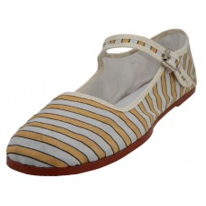 T5-1320- Wholesale Women's Gold And Gray Strip Printed Cotton Upper Classic Mary Jane Shoes ( *Last 4 Case )