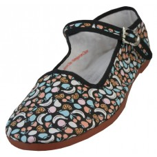T5-1321- Wholesale Women's Fruit Printed Cotton Upper Classic Mary Jane Shoes ( Black Fruit Printed )