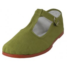 T5-777-KHAKI Wholesale Women's T-Strip Classic Cotton Mary Janes Shoe ( *Khaki Color )
