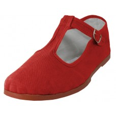 T5-777-R Wholesale Women's T-Strap Cotton Upper Classic Mary Jane Shoes ( *Mandarin Red ) *Last 4 Case