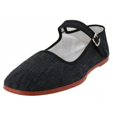 T5-888 - Wholesale Women's Classic Linen Mary Janes Shoe ( *Black Color ) *Last Case