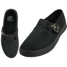 U245L-BB Wholesale Women's T-Strip Canvas Shoes ( *Black Color ) *Last 2 Case