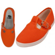 U245L-Mandarin Red Wholesale Women's T-Stip Cotton Canvas Shoes ( *Mandarin Red )