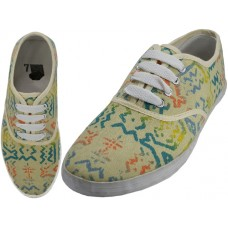 U3028L-Wholesale Women's Printed Lace Up Canvas Shoe ( *Yellow Printed )