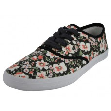 U3033L-Wholesale Women's Printed Lace Up Canvas Shoe ( *Floral Printed )