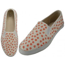 S316L-CORAL - Wholesale Women's Twin Gore Floral Printed Upper Casual Canvas Shoes ( *Coral Daisy Print )