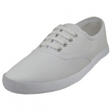 U324L-W Wholesale Women's Lace Up Casual Canvas Shoe ( *White Color )