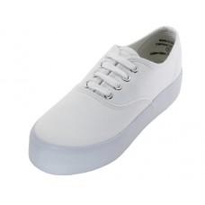 U777L-W Wholesale Women's Lace Up Platform Canvas Shoes ( *White Color )