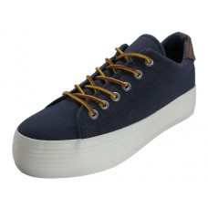 U999L-N - Wholesale Women's Hiker Flatform Lace up Canvas Shoes ( *Navy Color ) *Last 5 Case