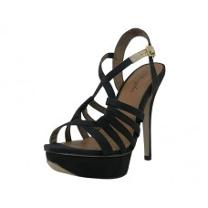 "VANESSA-B Wholesale Women's ""Angeles Shoes"" Hi-Heel Strip Sandals ( *Black Color ) *Last 3 Case"