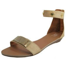 W0029-Beige - Wholesale Women's Studded Sandal with Ankle Strap and Back Zipper (*Beige Only ) *Last Case