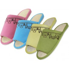 W030001 - Wholesale Women's Open Toes Tea Cup Embroidered House Slippers ( *Asst. Pink Blue Yellow & Green )