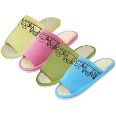 "W030001 - Wholesale Women's ""EasyUSa"" Open Toes Tea Cup Embroidered House Slippers ( *Asst. Pink Blue Yellow & Green )"