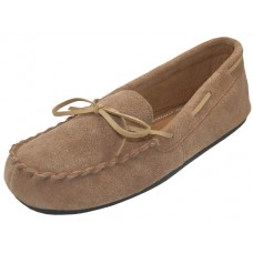 "W080003-C Wholesale Women's ""EasyUSA"" Insulated Leather Upper Moccasins House Slipper ( *Beige Clolor)"